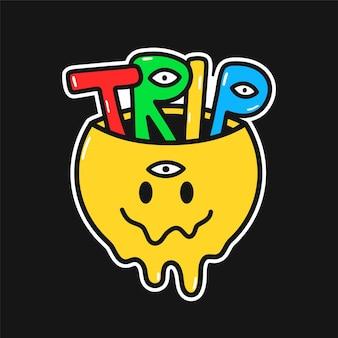 내부 여행 단어와 함께 재미 있는 녹는 미소 얼굴. 벡터 손으로 그린 낙서 90년대 스타일 만화 캐릭터 그림 로고. trippy 웃는 얼굴, lsd, 산, t-셔츠, 카드, 스티커, 패치, 포스터 개념에 대한 여행 인쇄