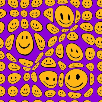 Funny melt smile faces seamless pattern.vector hand drawn doodle cartoon character illustration. smile faces melt, acid, trippy seamless pattern wallpaper print concept