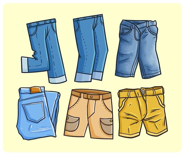 간단한 낙서 스타일의 재미있는 남성 데님 컬렉션