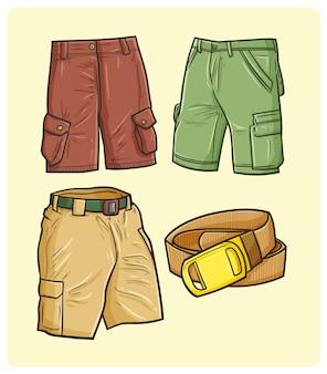 Забавные мужские шорты и пояс в простом стиле каракули