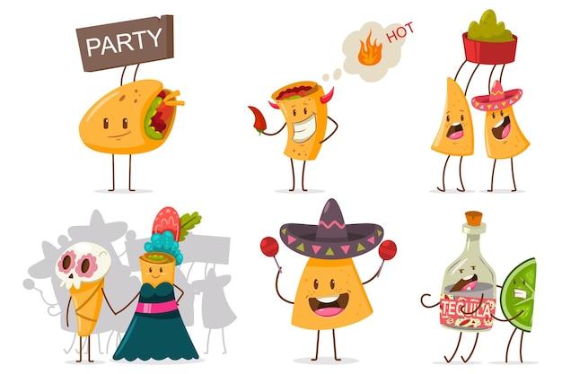 面白いメキシコ料理と飲み物のベクトルセット。白い背景に分離されたさまざまな感情を持つかわいいナチョス、テキーラ、ライム、ブリトー、タコスの漫画のキャラクター。