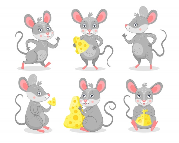 Funny mice characters set