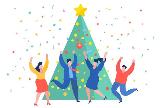 크리스마스 트리 근처에서 춤추는 재미있는 미니 비즈니스 사람들. 새 해 비즈니스 개념입니다. 평면 디자인, 벡터 일러스트 레이 션입니다.