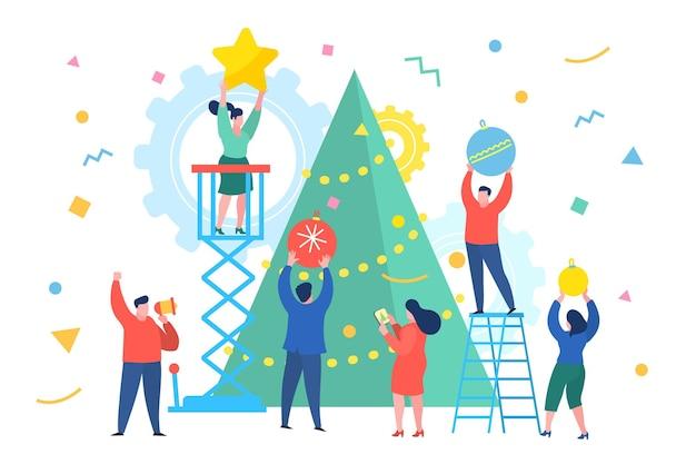 재미있는 미니 비즈니스 사람들이 크리스마스 트리를 장식합니다. 새 해 비즈니스 개념입니다. 평면 디자인, 벡터 일러스트 레이 션입니다.