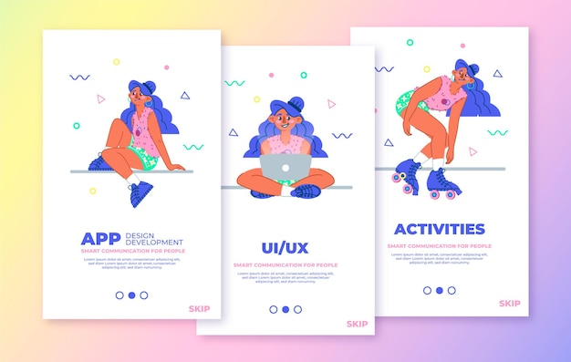 Funny mobile app concept with a happy young girl pack templates