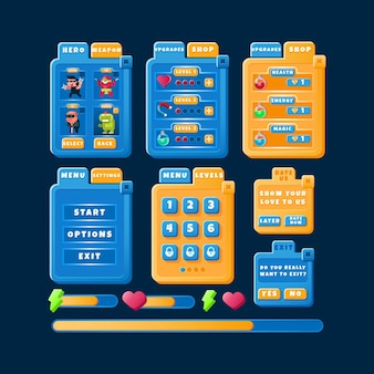 Забавный дизайн пользовательского интерфейса современной казуальной игры с индикатором выполнения и значком баннера