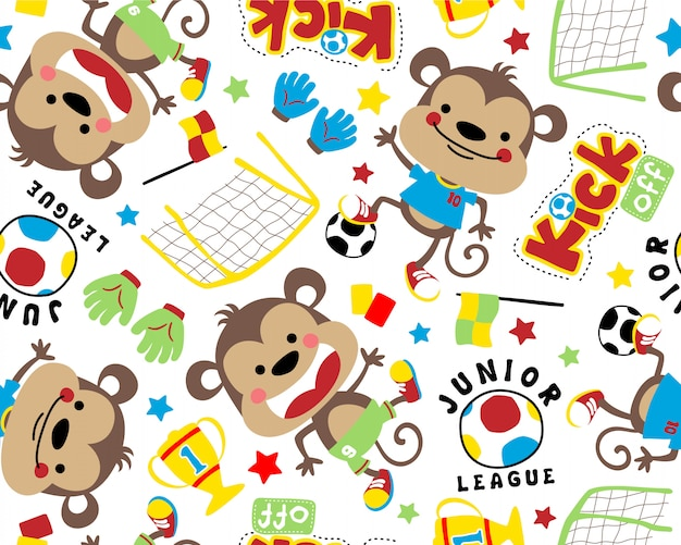 Funny monkey cartoon on seamless pattern vector