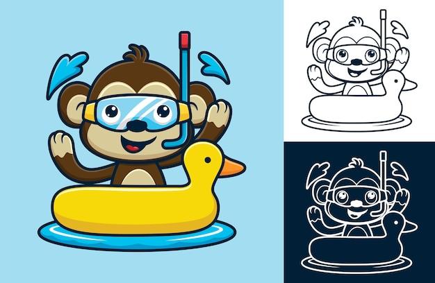 오리 풍선 링에 다이빙 마스크를 쓰고 재미있는 원숭이 만화.