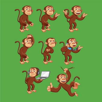 Funny monkey character in different poses