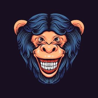 블랙에 고립 된 재미있는 원숭이 머리
