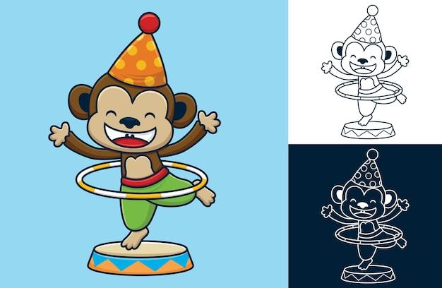 コーンハットと面白い猿のフラフープ。フラットアイコンスタイルのベクトル漫画イラスト