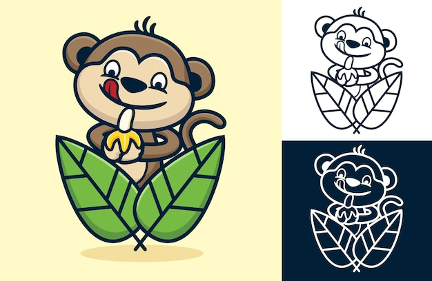 바나나를 들고 나뭇잎에 웃긴 원숭이가 혀를 내밀고 있습니다. 평면 아이콘 스타일의 만화 그림