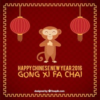 Funny monkey of new year background