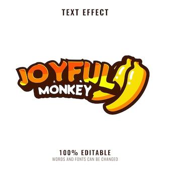 Редактируемый текстовый эффект логотипа талисмана забавного выживания обезьяны
