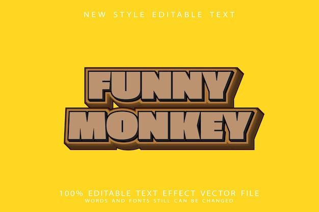 Funny monkey text effect emboss cartoon style
