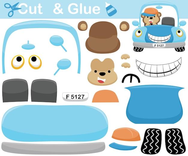 웃는 차에 모자를 쓰고 재미 있은 원숭이. 어린이를위한 교육 종이 게임. 컷 아웃 및 접착. 만화 삽화
