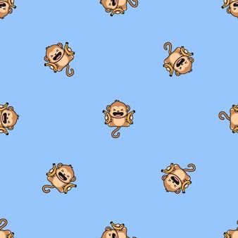 Funny monkey with banana jumping cartoon seamless pattern