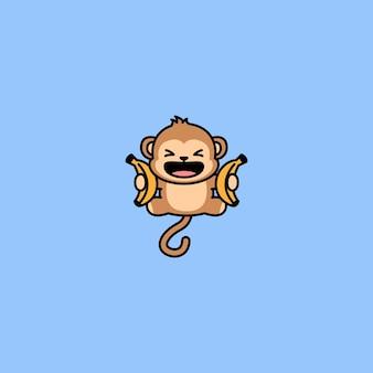 Funny monkey with banana jumping cartoon