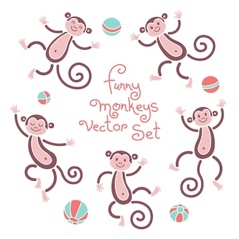 Funny monkeys vector isolated set of illustrations. lovely monkey and balls elements for design.