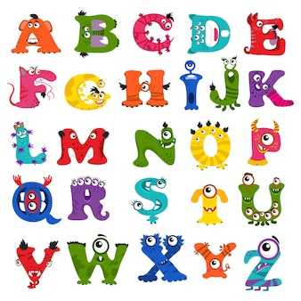 아이들을위한 재미있는 괴물 알파벳.