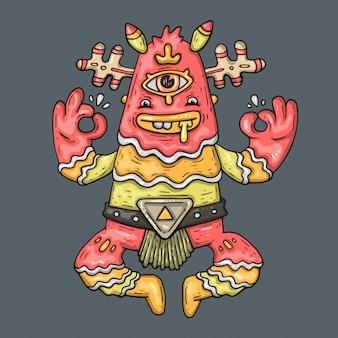 Funny monster, cartoon illustration.