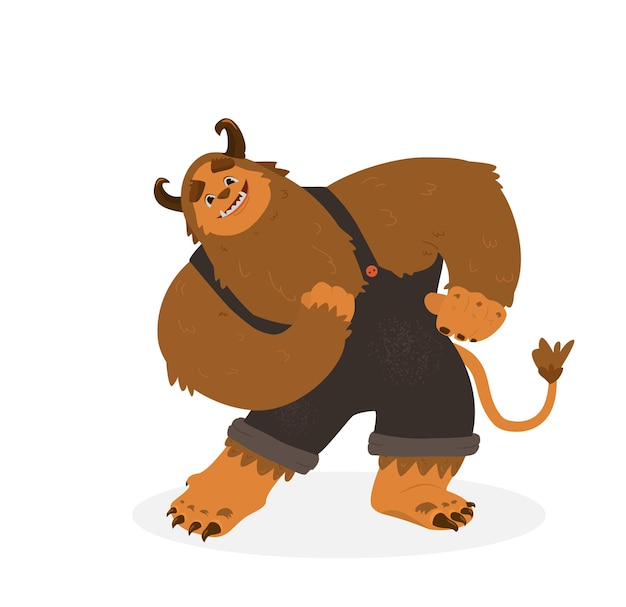 Funny monster character design cartoon vector illustration. big fluffy smiling monster with tail and horns  in overall in dancing pose. isolated on white.
