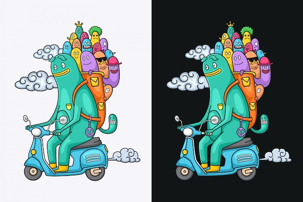 Funny monster characters riding a motorcycle
