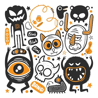 Funny monster  hand drawn doodle vector