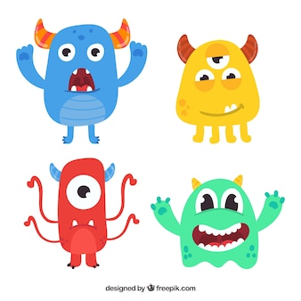 Funny monster pack of four