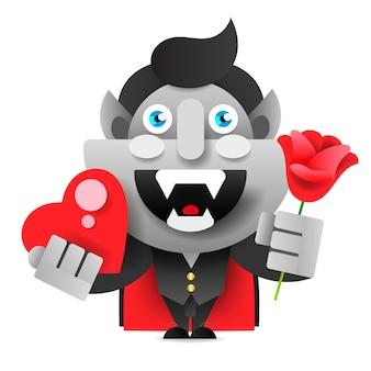 꽃과 심장 만화와 함께 재미있는 괴물. 행복하고 재미있는 유치한 작은 괴물 축하합니다. 벡터 드로잉입니다.