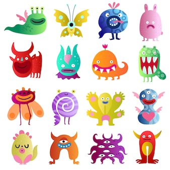 Funny monsters big colorful collection with bull scared plant peanut in love  spiral creatures isolated