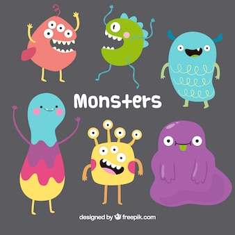 Funny monsters collection in hand drawn style