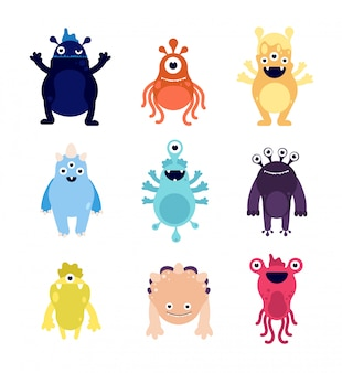 Веселые монстры. симпатичные детские монстры-пришельцы, причудливые аватарки. сумасшедшие голодные хэллоуин животные изолированные персонажи мультфильмов вектор