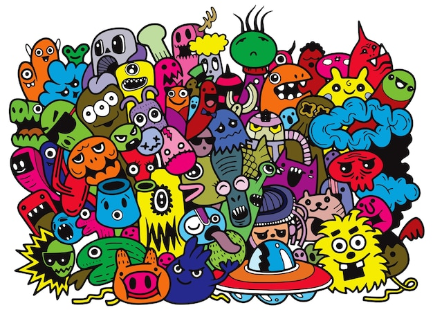 Funny monsters pattern for coloring book