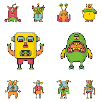 Funny monsters pixel art style vector icons set.