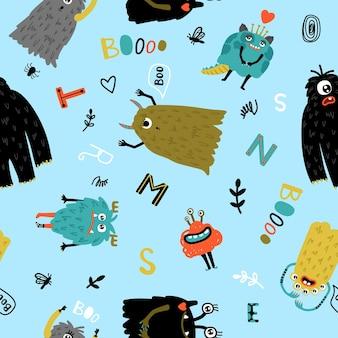 面白いモンスターのシームレスなパターン。プリント用のかわいい漫画のキャラクター、小さなホラー毛皮のシンボルのテキスタイルタイル、赤ちゃんの生地や壁紙のための楽しい顔を持つ生き物