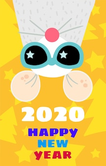 Funny mouse 2020 greeting card flat template
