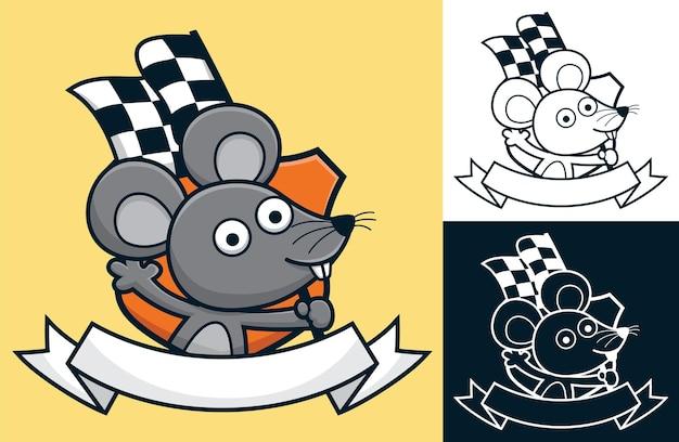 리본 로고 장식이 있는 마무리 플래그를 들고 있는 재미있는 마우스 만화.