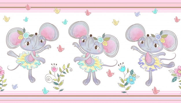 Funny mouse dancing seamless border