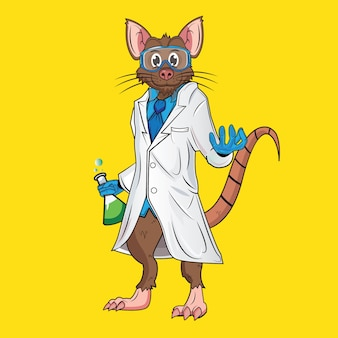 Funny mouse with a professor's suit