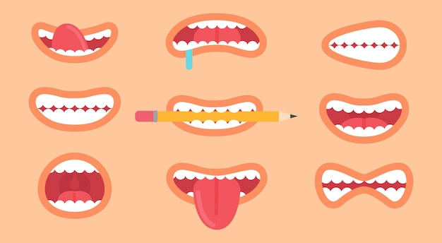 Funny mouth collection, different emoticons, tongue sticked out and teeth showed by person