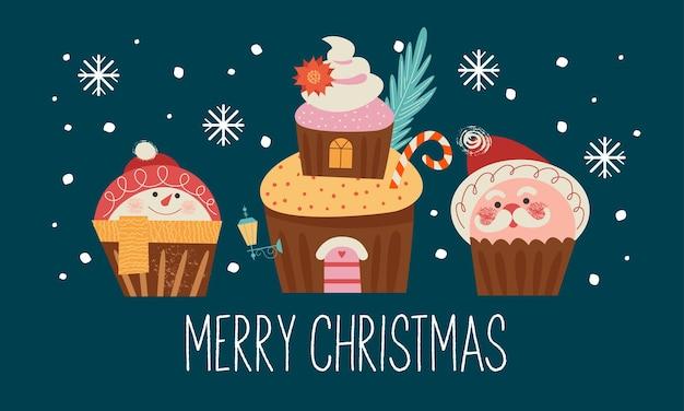 Веселые кексы в виде деда мороза, уютного домика и снеговика с рождеством христовым