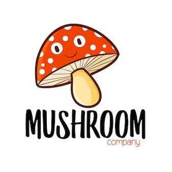 Funny mushroom company logo template