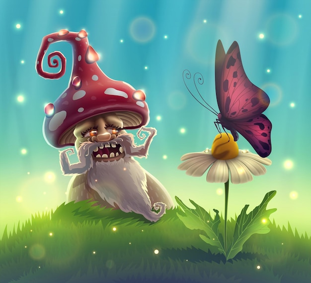 Funny mushroom in summer garden with magic smile looks at butterfly on flower in fantasy forest.