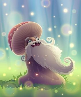 여름 정원에서 마법의 미소를 지닌 재미있는 버섯이나 푸른 풀이 있는 환상의 숲