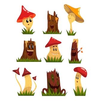 Funny mushrooms characters set