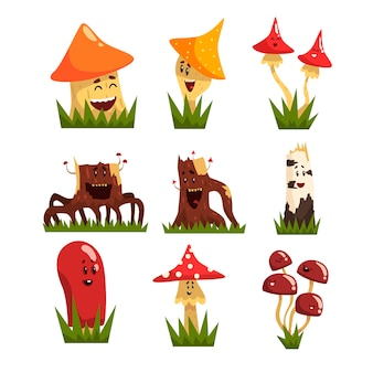 Funny mushrooms characters with colorful caps set