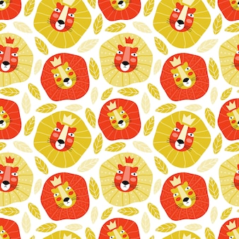 Funny muzzle of the lion king in a crown. hand drawn wild cat in the jungle seamless pattern