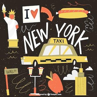 Смешные нью-йорк иллюстрация