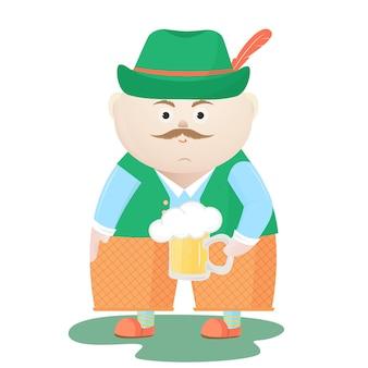 맥주 한 잔과 함께 모자에 재미 있는 옥토버페스트 남자. 뮌헨 페스티벌.